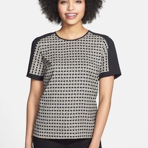 Vince Camuto Basket Weave Print Blouse, Small